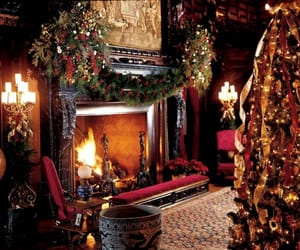 christmas, fireplace, and winter image