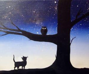 cat, cute art, and owl image