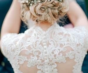 wedding, dress, and hair image
