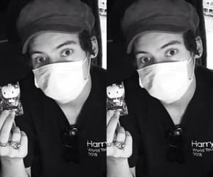 Harry Styles, black and white, and hello kitty image