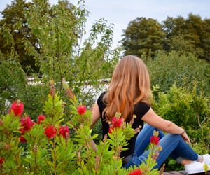 flowers, girl, and green image