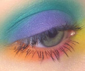 makeup, rainbow, and pretty image