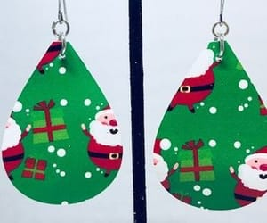 leather earrings, teardrop earrings, and christmas earrings image