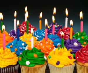 birthday, bright, and cupcake image