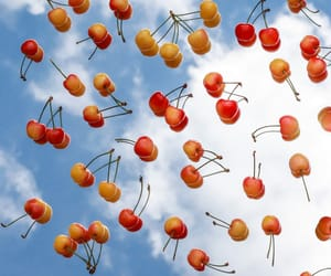 blue sky, cherries, and Flying image