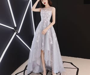 girl, prom dress, and grey dress image