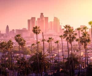 los angeles, pink, and skyline image