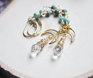 crescent moon, etsy, and crystal earrings image