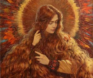 autumn, painting, and slavic image