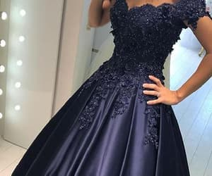 long prom dress, evening dress ball gown, and prom dress blue image