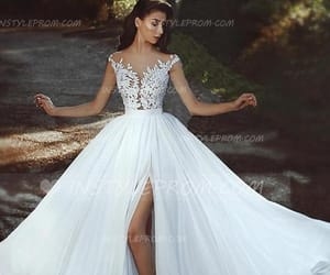 wedding dress, love, and couple image