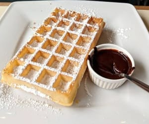 breakfast, desserts, and waffles image