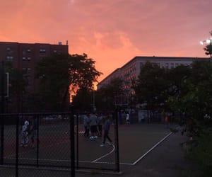 Basketball, neighborhood, and sunset image