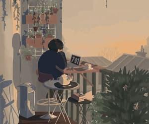 balcony, gif, and grey image