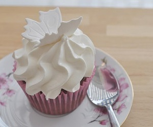 cupcake, food, and butterfly image