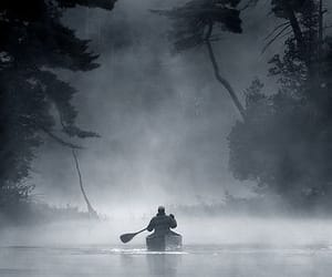 nature, boat, and fog image
