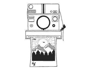 art, drawing, and polaroid image