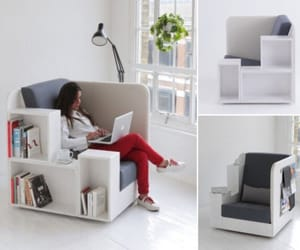 books, comfortable, and lamp image