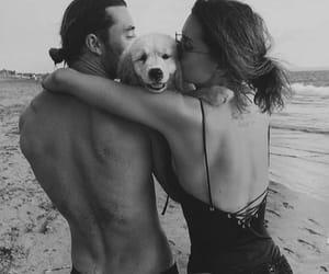 couple, dog, and beach image