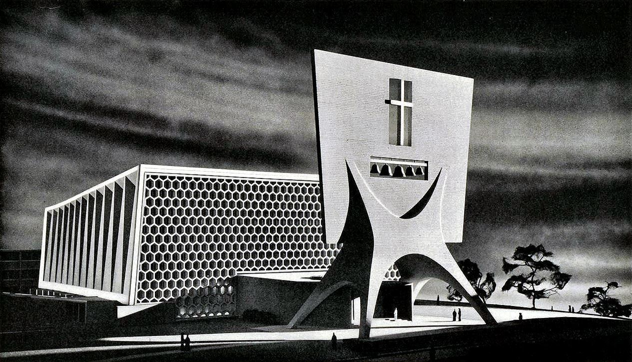 church, concrete, and 1950s image