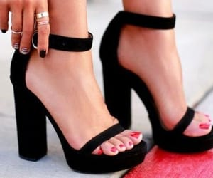 black, heels, and fashion image