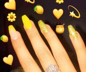 nails, yellow, and jewelry image