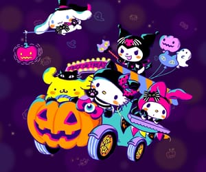 hello kitty, my melody, and pumpkin image