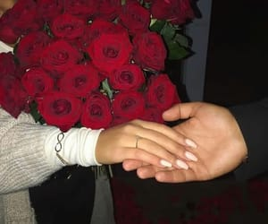 couple, roses, and love image
