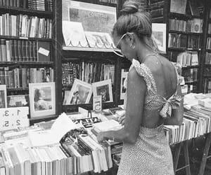 black and white, girl, and book image