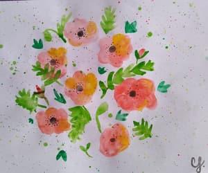 flower, pintura, and poppy image