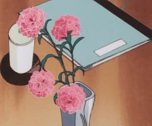 coffee table, pink, and flowers image