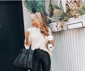 blonde hair, chic, and coffee image
