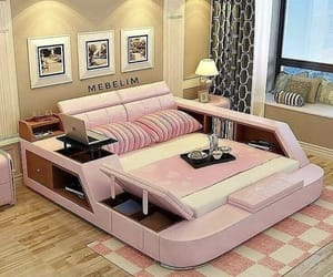 bedroom, pink, and comfy image
