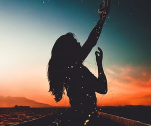 beauty, girl, and sunset image