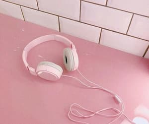 headphones, music, and pink image