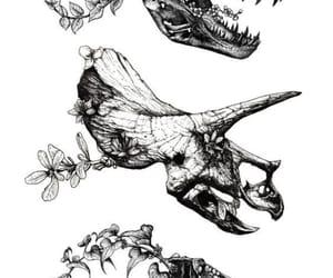 art, dinosaur, and flowers image