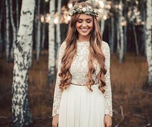 blonde, long dress, and white dress image