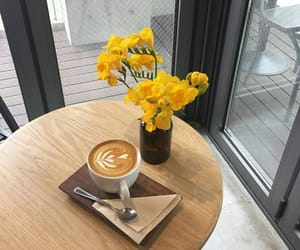 yellow, flowers, and coffee image