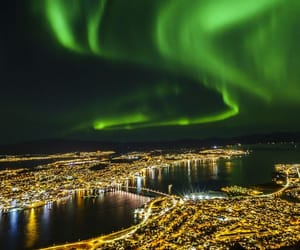 city, nature, and northern lights image