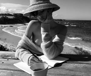 black and white, beach, and ocean image