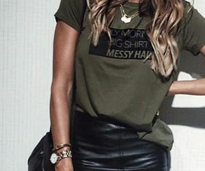 green, leather skirt, and outfit image
