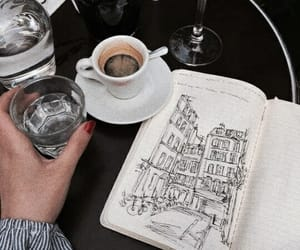 coffee, drawing, and notebook image