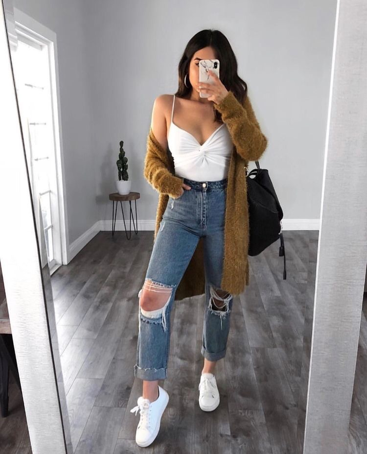 cardigan, ripped jeans, and sneakers image