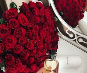 flowers, purfum, and red roses image
