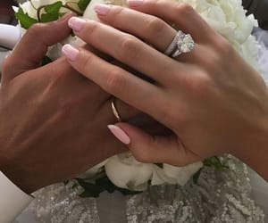couple, ring, and wedding image