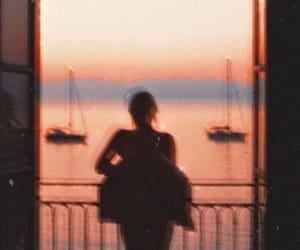 girl, sunset, and vintage image