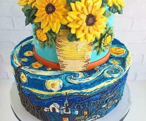 cake, sunflowers, and van gogh image