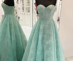 prom dress a-line, long party dress, and green party dress image
