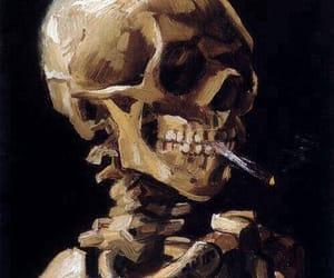 art, skull, and van gogh image
