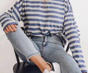 denim, outfit, and stripes image